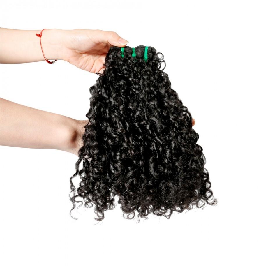 Uglam 3/4pcs Double Drawn Bundles Pissy A Curly Virgin Human Hair