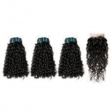 Uglam Double Drawn Bundles With 4X4 Lace Closure Pissy B Curly