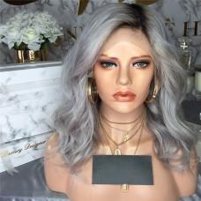 Uglam 1B/Grey 13X4 Lace Closure Wig Body Wave Virgin Hair