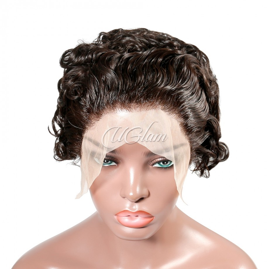 Uglam T Part Lace Front Wigs Pixie Cut Curly Hair