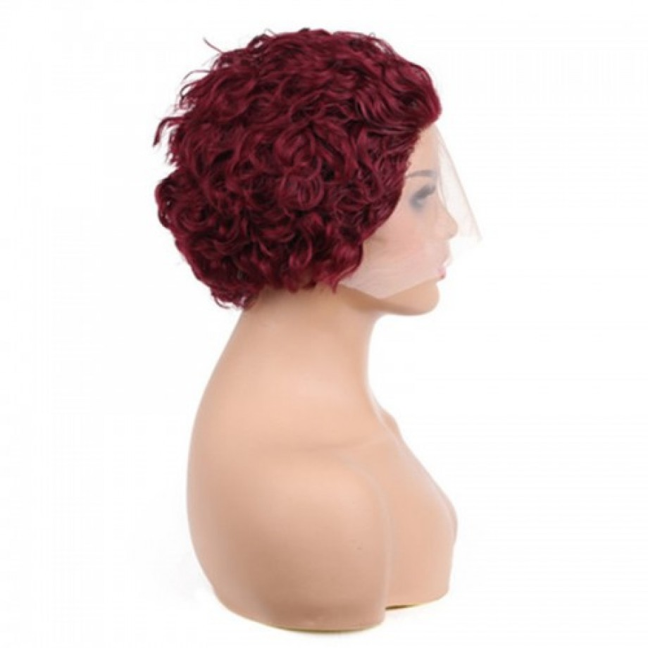 Uglam #99J/P4/27 Color T Part Lace Front Wigs Pixie Cut Curly Hair