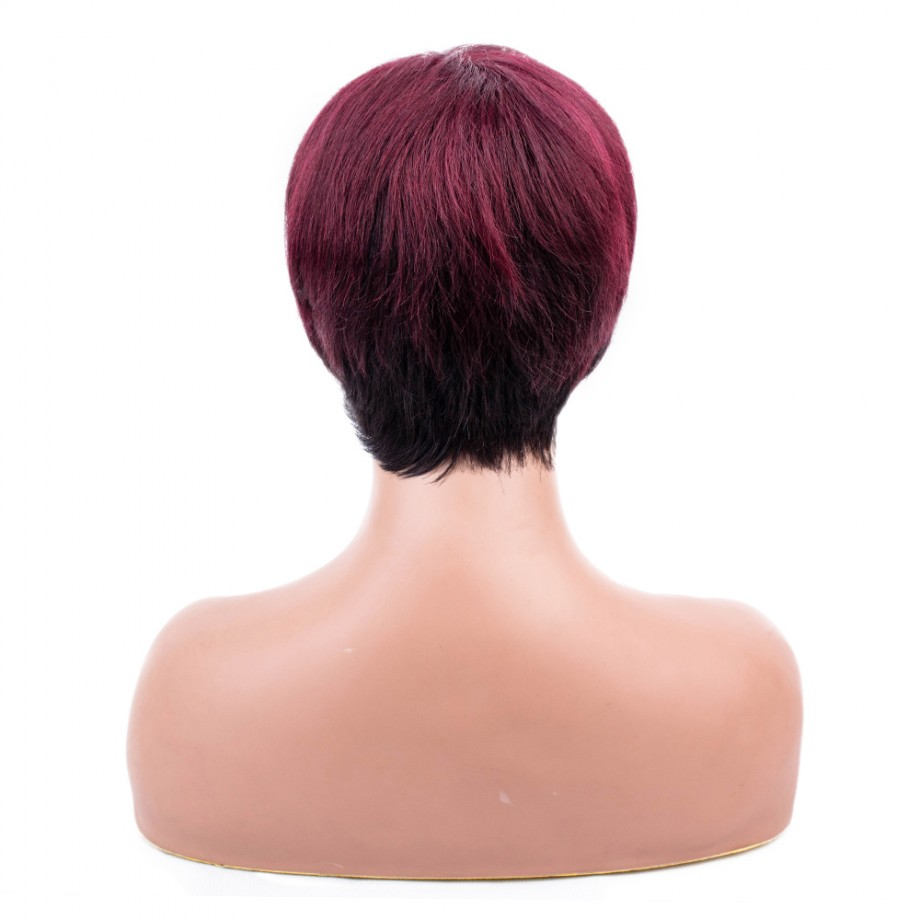 Uglam Red/99J Machine Short Wigs With Bangs Human Hair