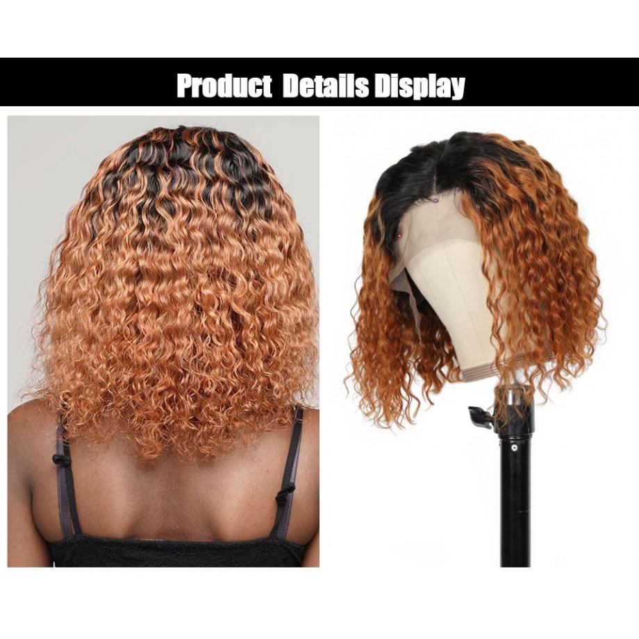 Uglam 1B/30 Bob T Part Lace Wigs Deep Wave Hair