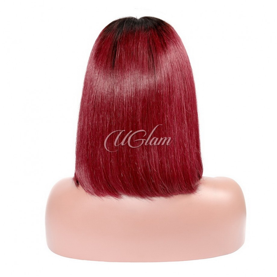 Uglam Hair Bob Lace Front Wigs Black Root Burgundy Color Straight With Middle Part