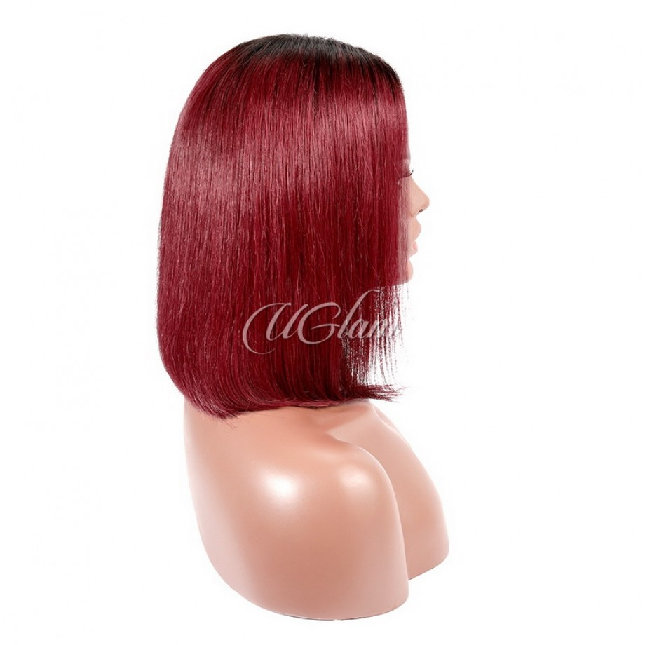 Uglam Bob Lace Front Wigs Black Root Burgundy Color Straight With Middle Part
