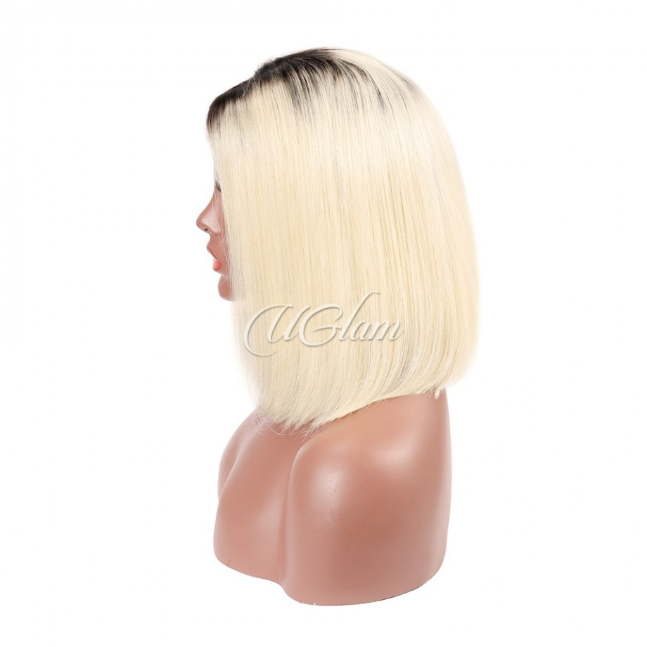 Uglam Hair Bob Lace Front Wigs 1B/613 Color With Middle Part