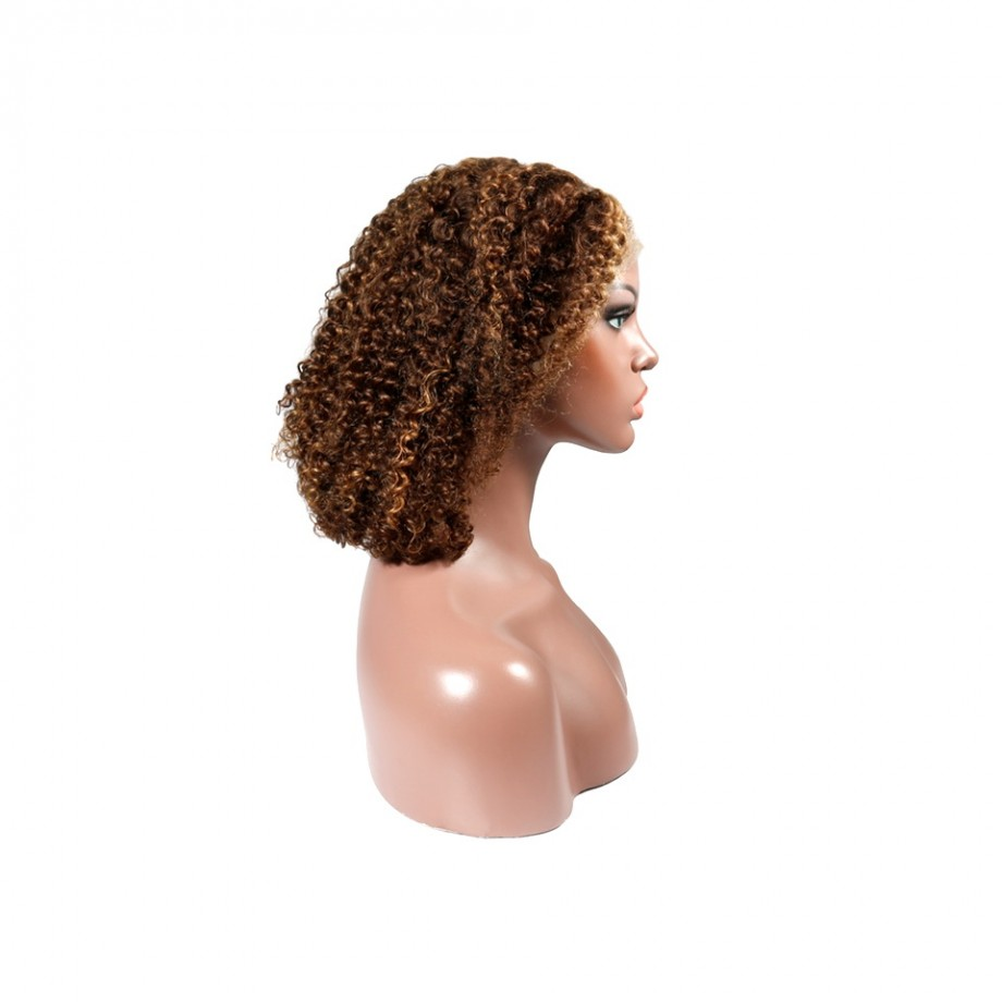 Uglam Bob Lace Front Wig Piano Color Highlight #4/27 Color Deep Wave Virgin Hair