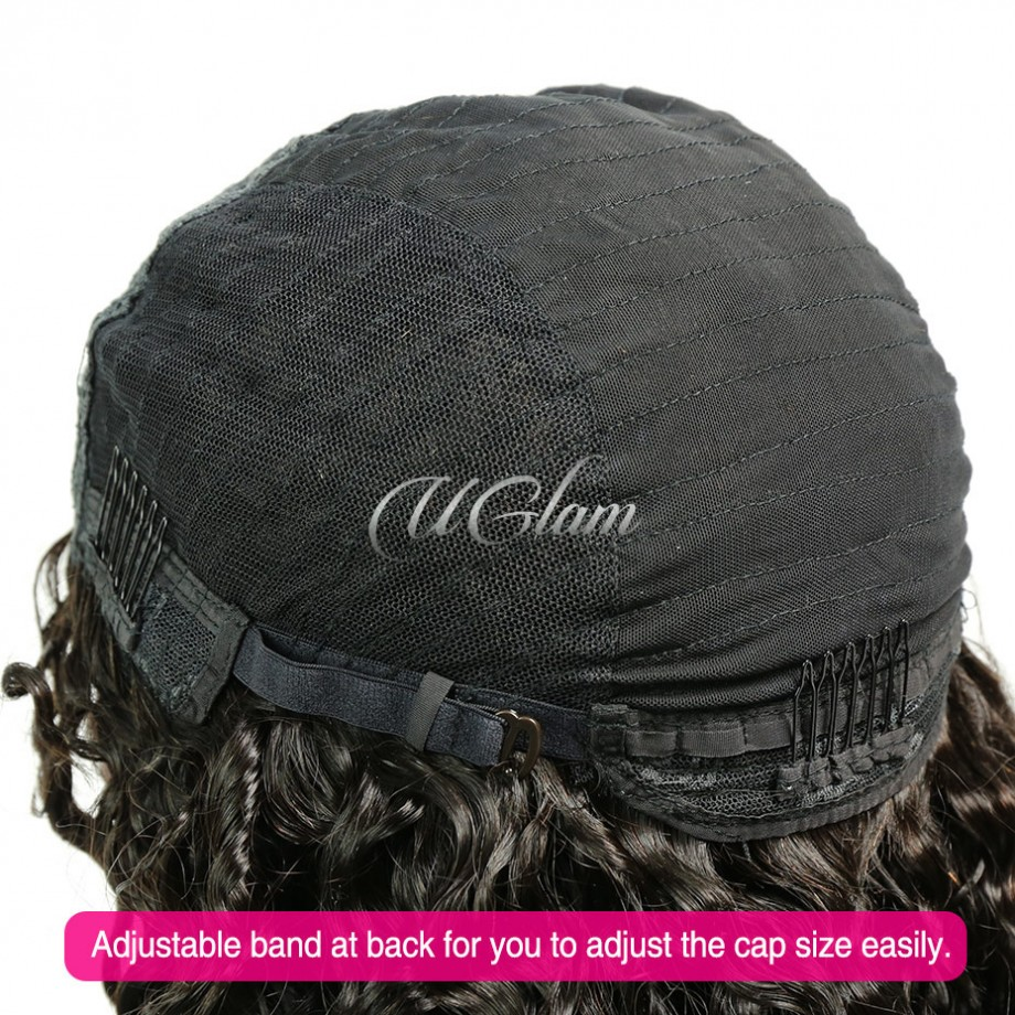 Uglam Deep Wave Curly U Part Lace Front Wigs
