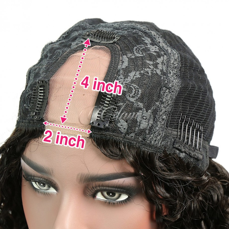 Uglam Hair Kinky Curly U Part Lace Front Wigs