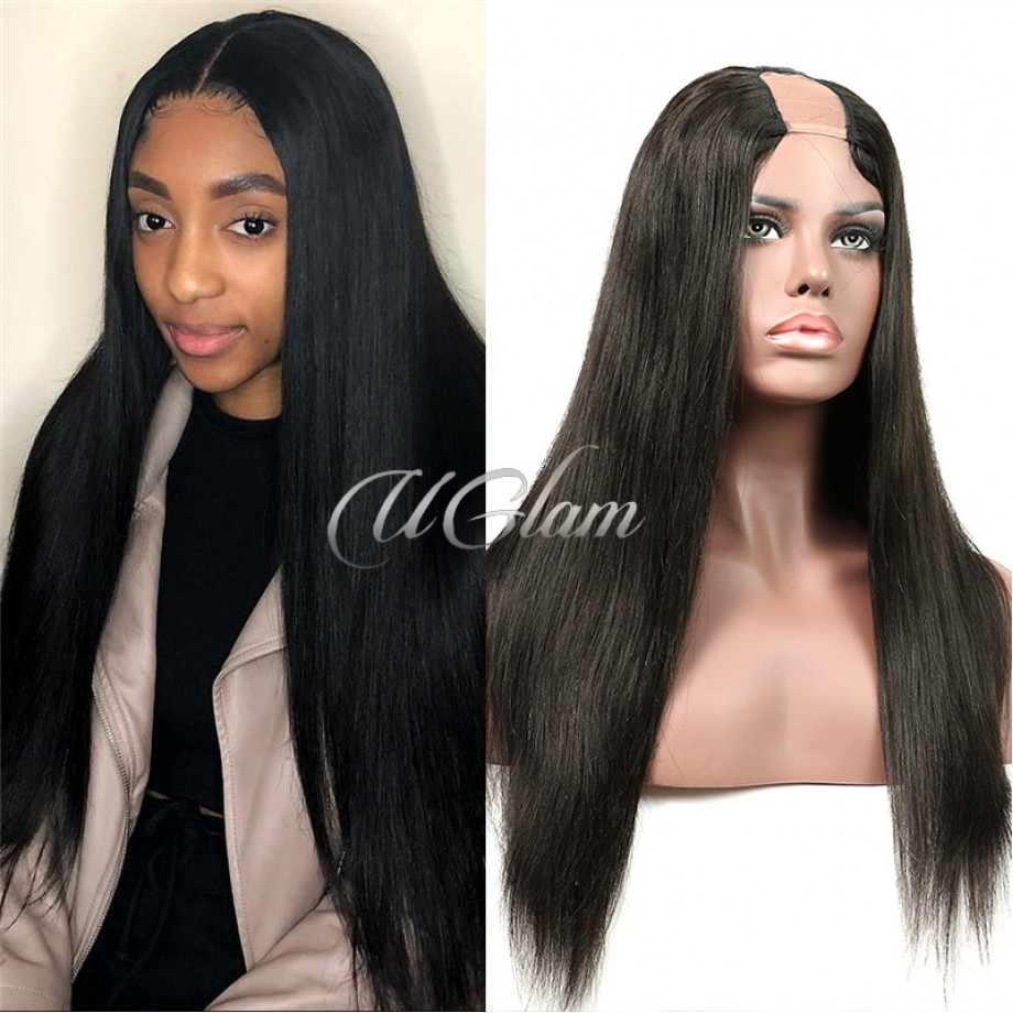 Uglam Straight U Part Lace Front Wigs