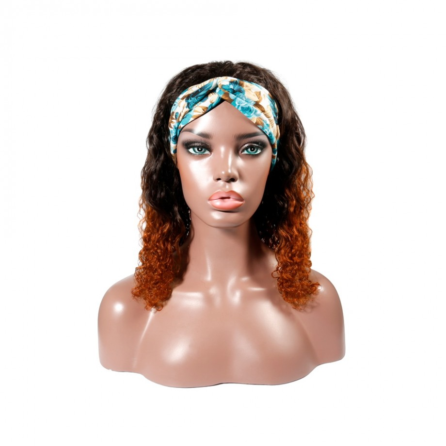 Uglam 1B/350 Color Headband Wigs Deep Wave No PrePlucked Hairline