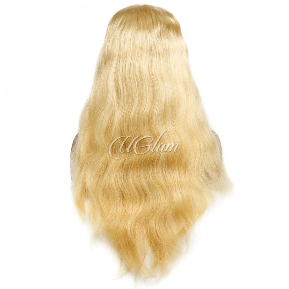 Uglam Hair 360 Lace Front Wigs 613 Honey Blonde Color Body Wave 180% Density