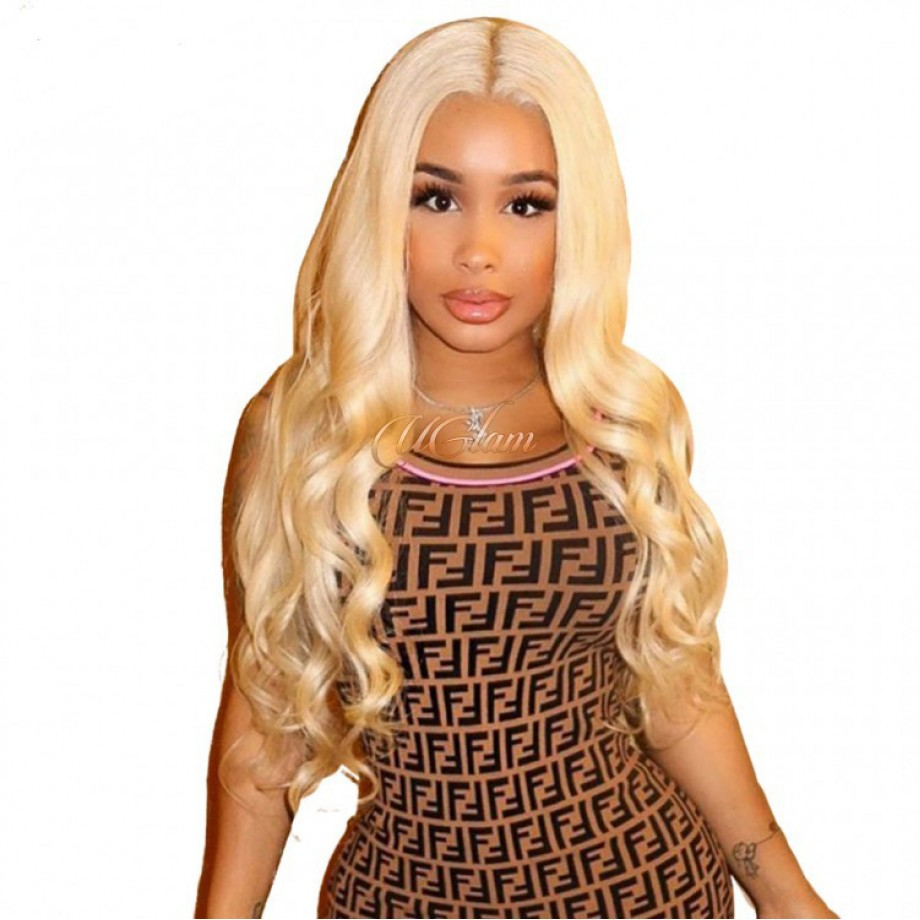 Uglam Hair 360 Lace Front Wigs 613 Honey Blonde Color Body Wave 150% Density