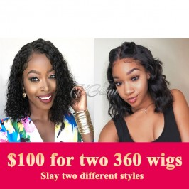 Uglam Hair Big Promotion 360 Lace Frontal Wigs Body Wave/Deep Wave 180% Density