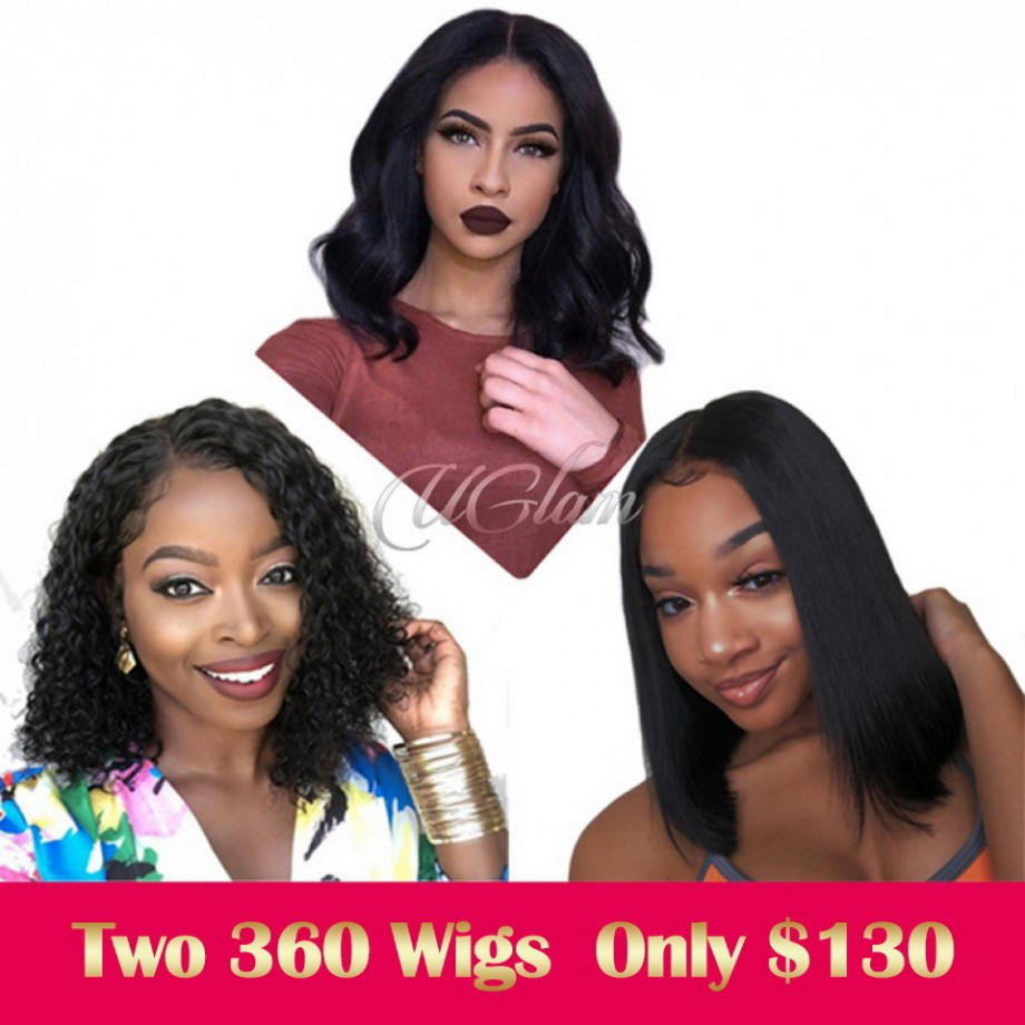 Uglam Clearance 360 Lace Frontal Wigs Straight/Deep Wave 180%&250% Density
