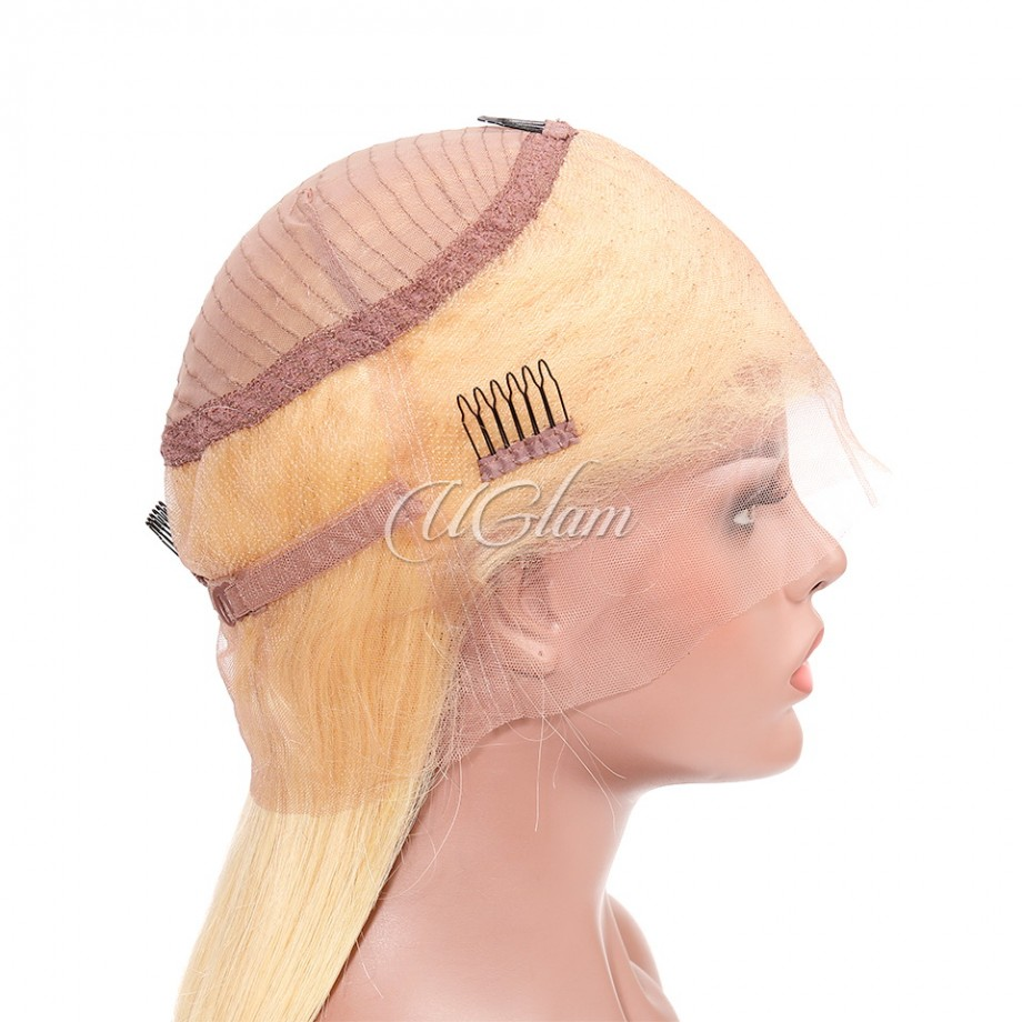 Uglam Hair 360 Lace Front Wigs 613 Honey Blonde Color Straight 150% Density