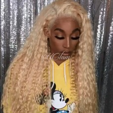 Uglam Hair 360 Lace Front Wigs 613 Honey Blonde Color Deep Wave 150% Density