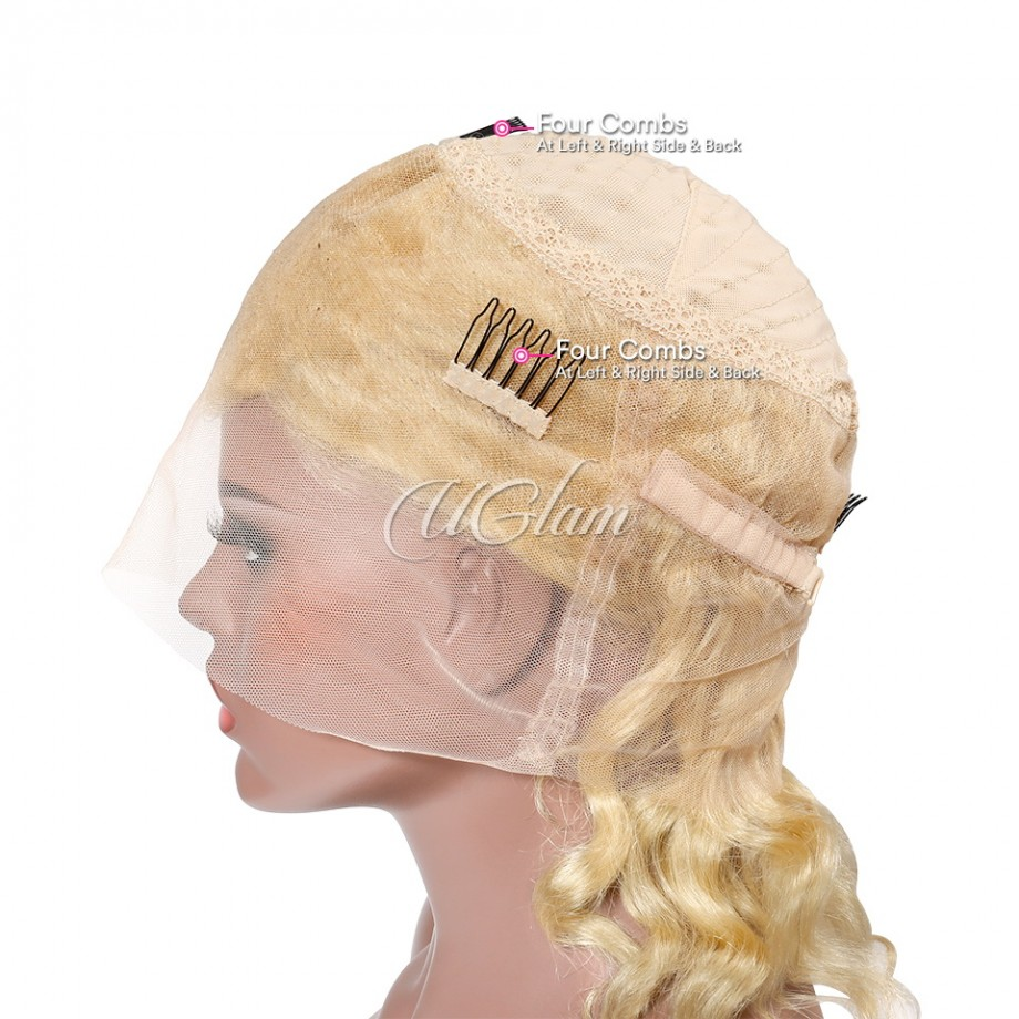 Uglam Hair 360 Lace Front Wigs 613 Honey Blonde Color Loose Wave 150% Density