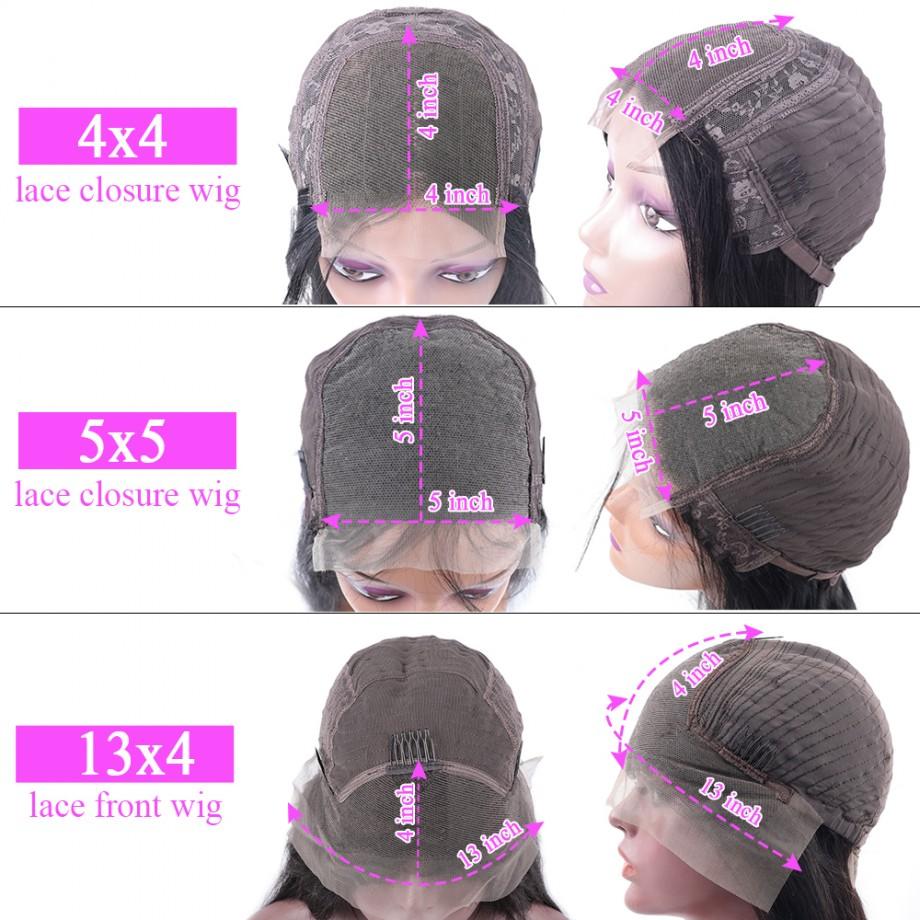 Uglam 4X4/5X5 Transparent Lace Closure Wig Body Wave