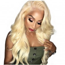 Uglam Hair 13X6 Lace Front Wigs 613 Honey Blonde Color Body Wave 150% Density