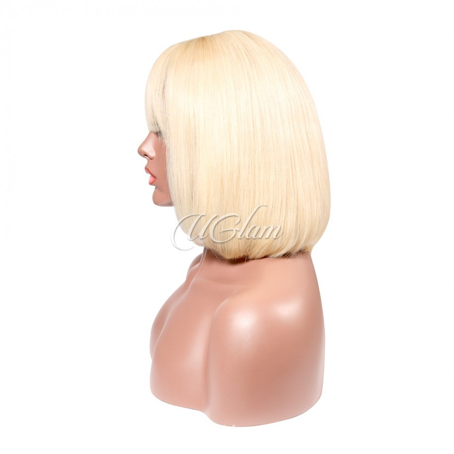 Uglam 613 Honey blonde Bob Lace Front Wigs With Bangs