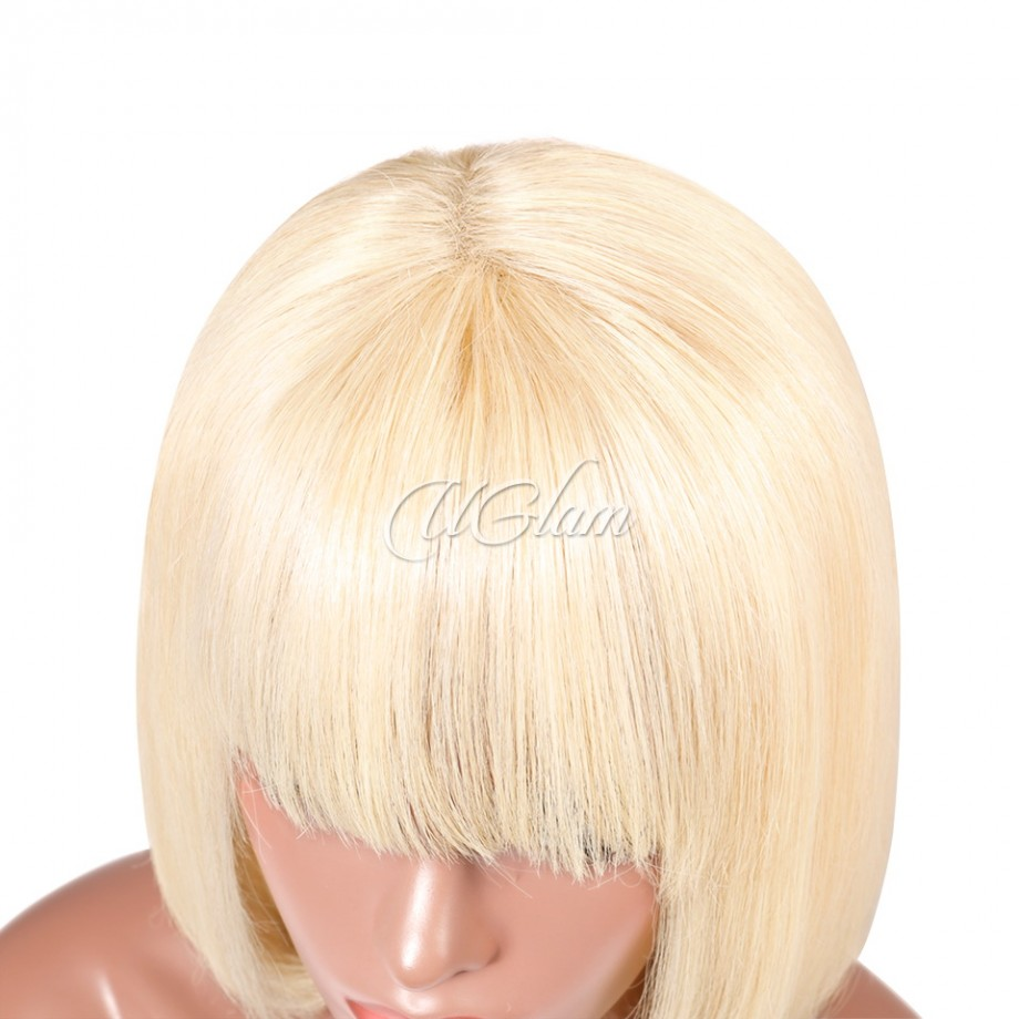 Uglam Hair 613 Honey blonde Bob Lace Front Wigs With Bangs