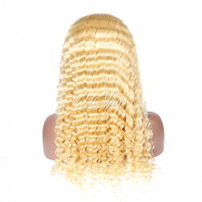 Uglam Hair Lace Front Wigs 613 Honey Blonde Color Deep Wave 150% Density