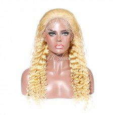 Uglam Hair Lace Front Wigs 613 Honey Blonde Color Deep Wave 150% Density