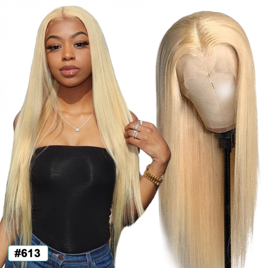 Uglam 13X4/13X6 Lace Front Wigs 613 Blonde Color Straight 150% Density
