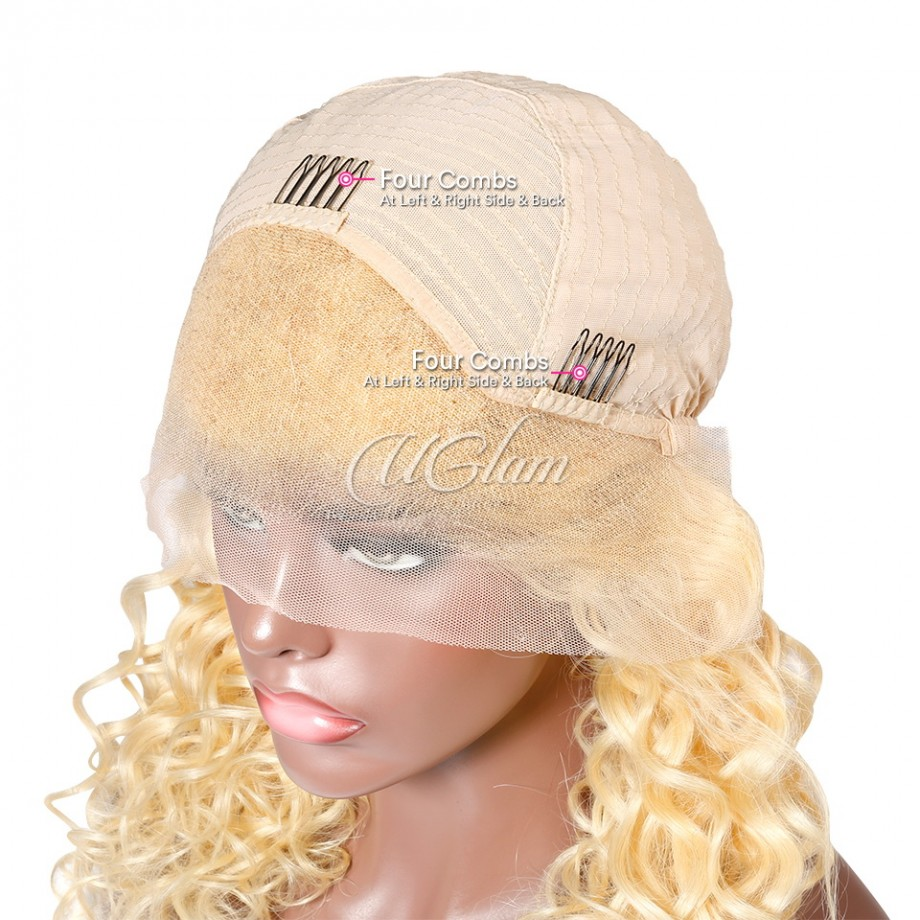 Uglam Hair Lace Front Wigs 613 Honey Blonde Color Wand Curl Hair150% Density