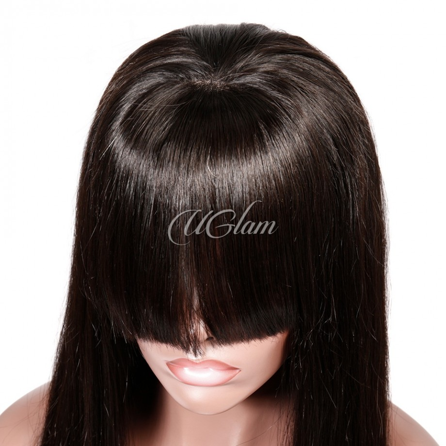 Uglam Hair 360 Lace Front Wigs Straight With Bangs 180% Density