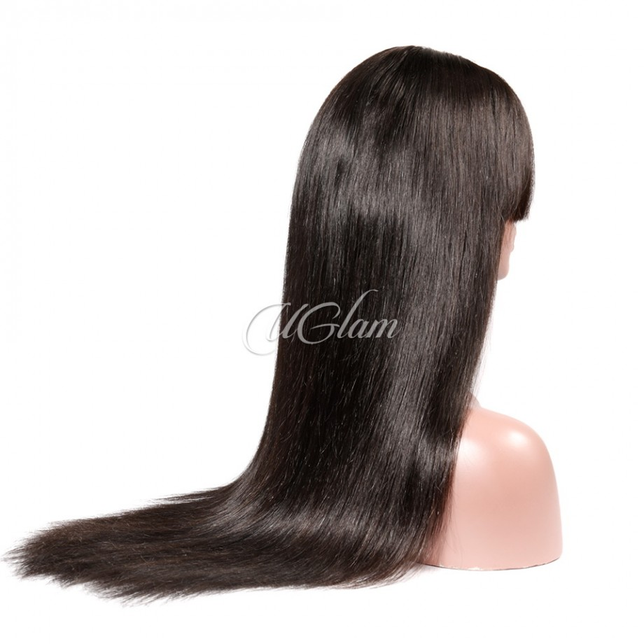 Uglam Hair 360 Lace Front Wigs Straight With Bangs 250% Density
