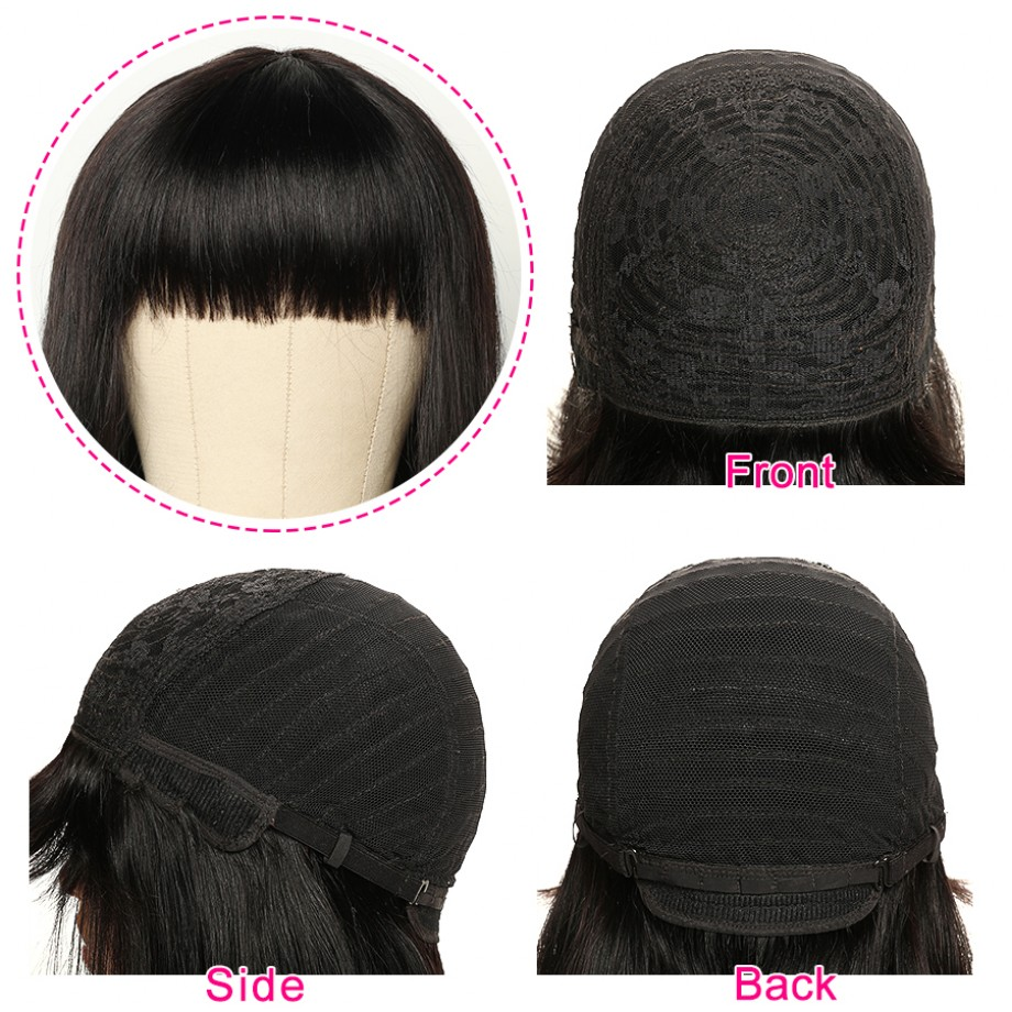 Uglam Machine Made Wigs Straight With Bangs