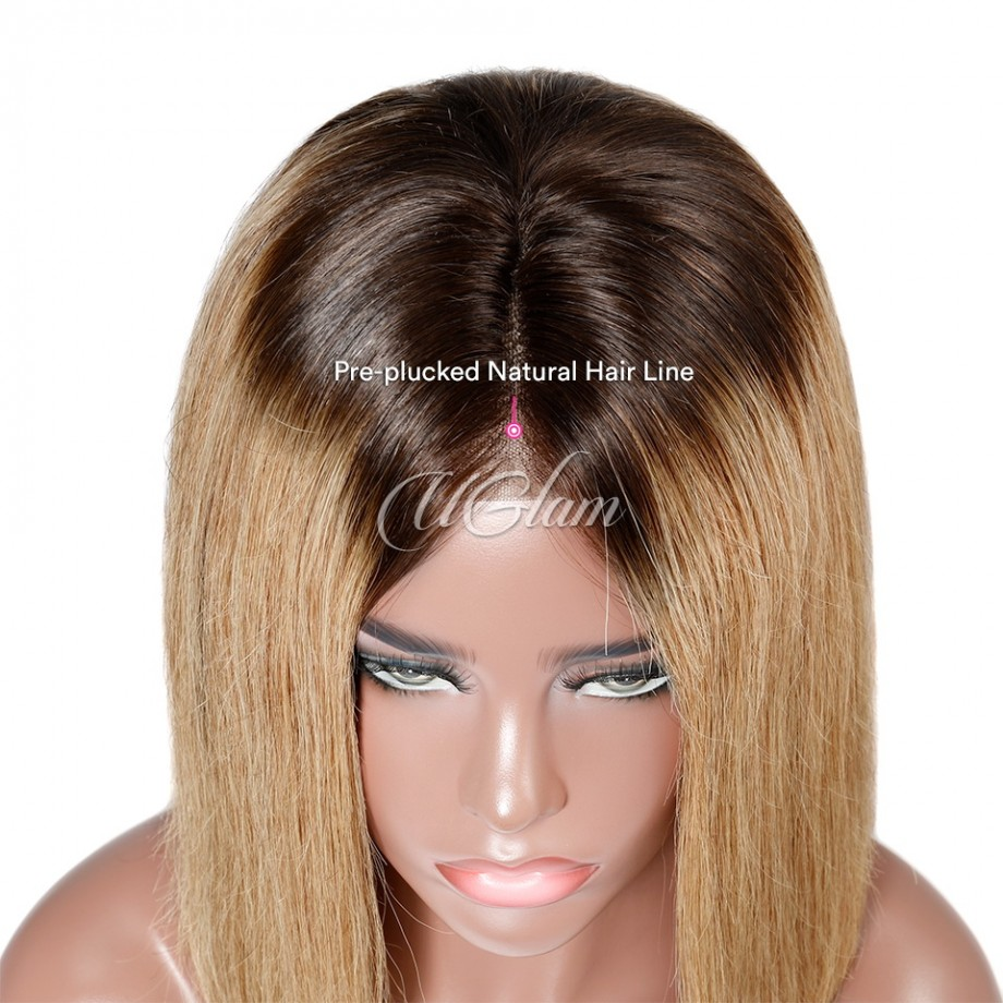 Uglam Hair Bob Lace Front Wigs Ombre Black Root Khaki Color With Middle Part