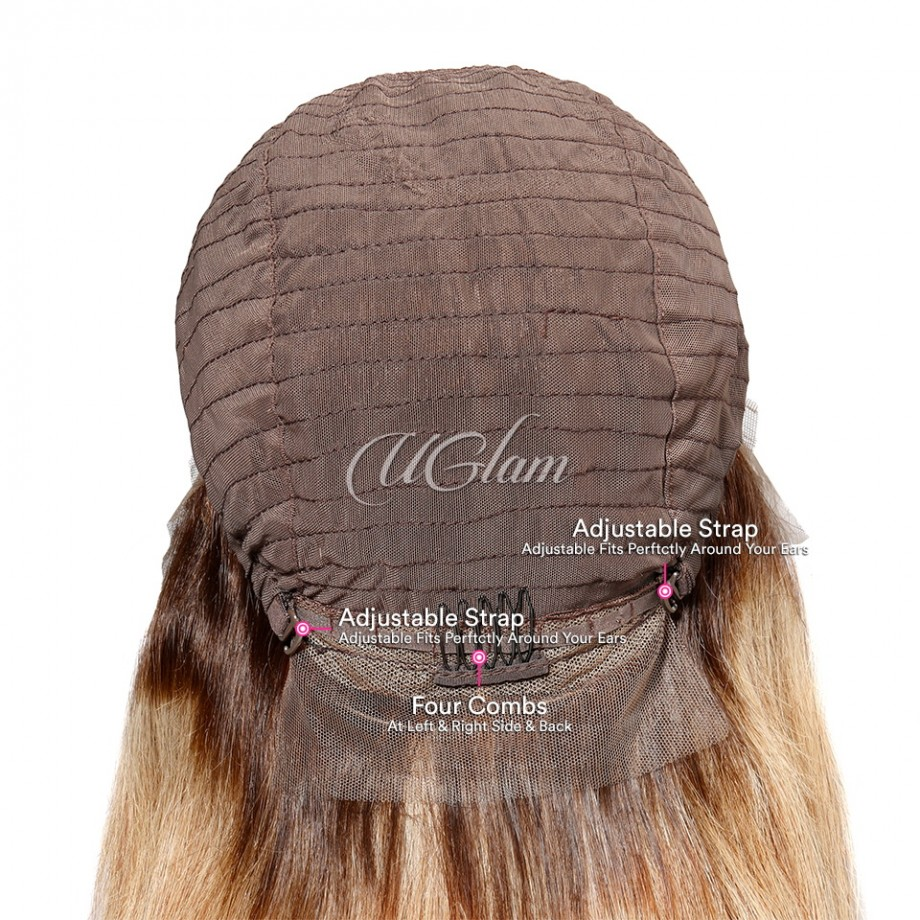 Uglam Bob Lace Front Wigs Ombre Black Root #27 Color With Middle Part