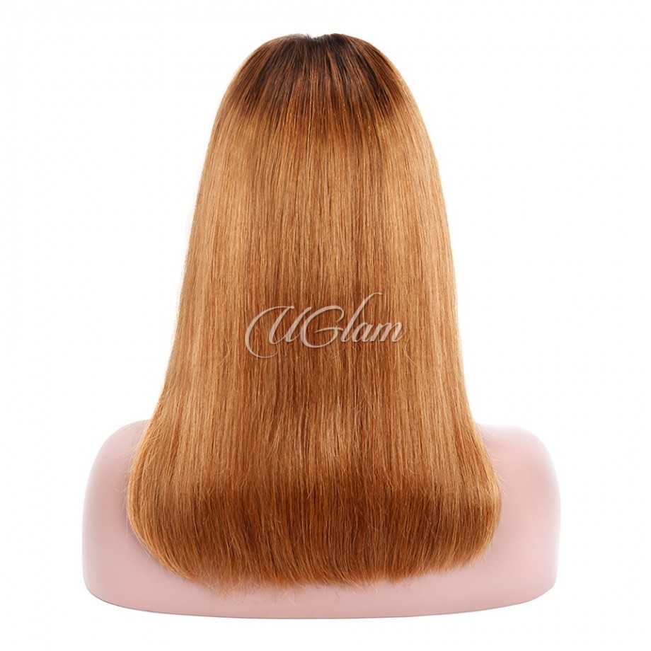 Uglam Hair Bob Machine-Made Wigs Black Root 1b/30 Ombre Color Straight