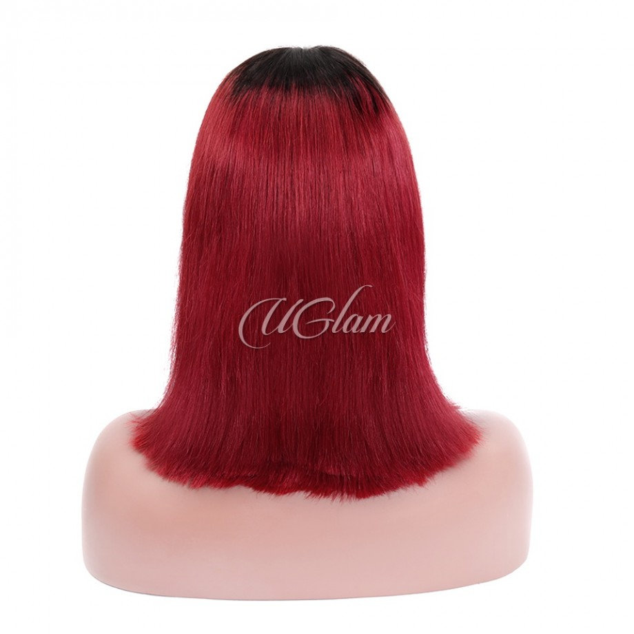 Uglam Hair Bob Machine-Made Wigs Black Root 1b/Red Ombre Color Straight