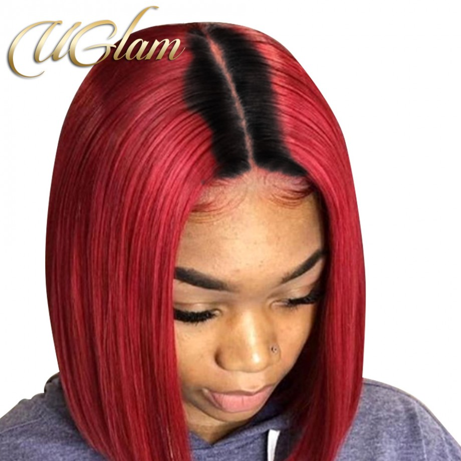 Uglam Hair Bob Machine Made Wigs Black Root 1b Red Ombre Color Straight