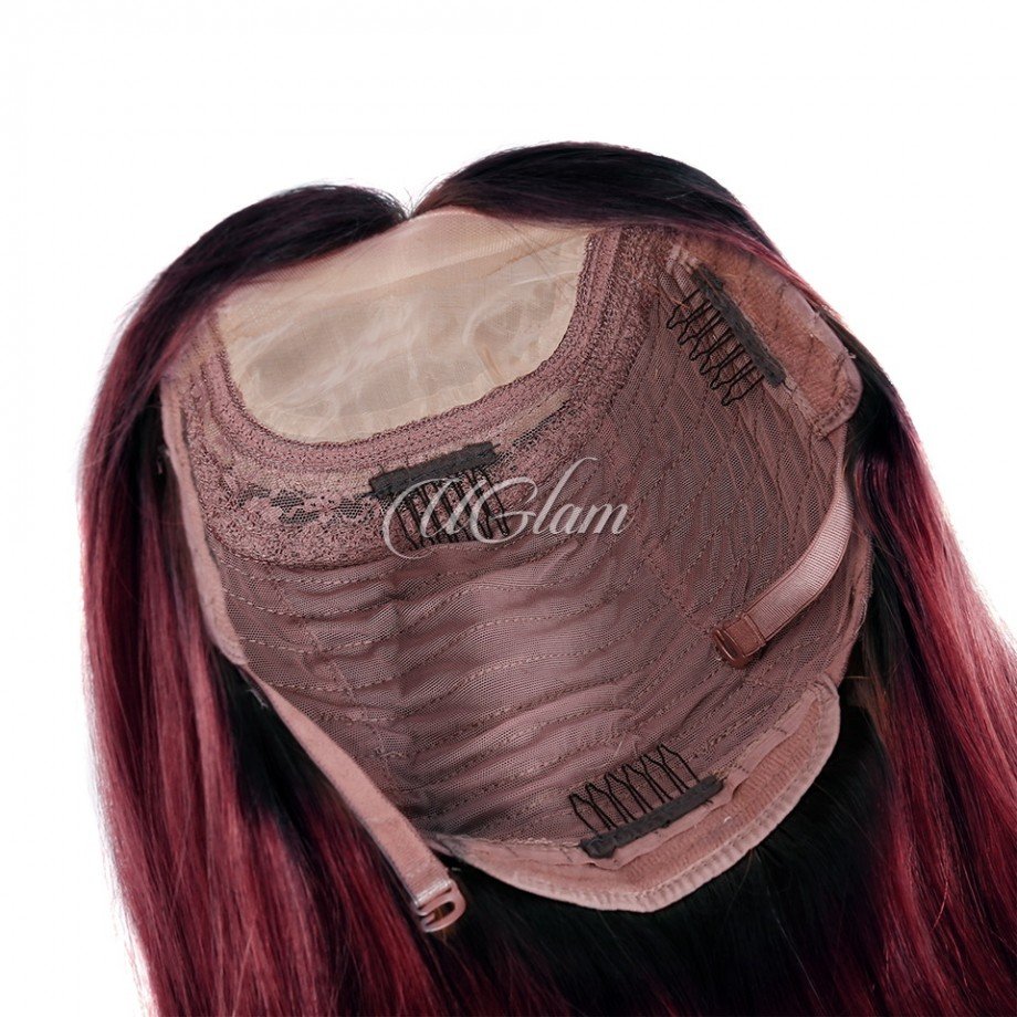 Uglam Hair Bob Machine-Made Wigs Black Root 1b/burgundy Ombre Color Straight