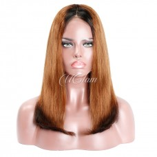 Uglam Hair Bob Machine-Made Wigs Black Root 1b/30/1b Ombre Color Straight