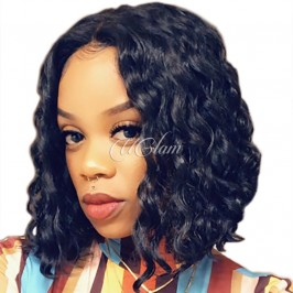 Uglam Hair Bob Lace Front Wigs Loose Wave With Free Part