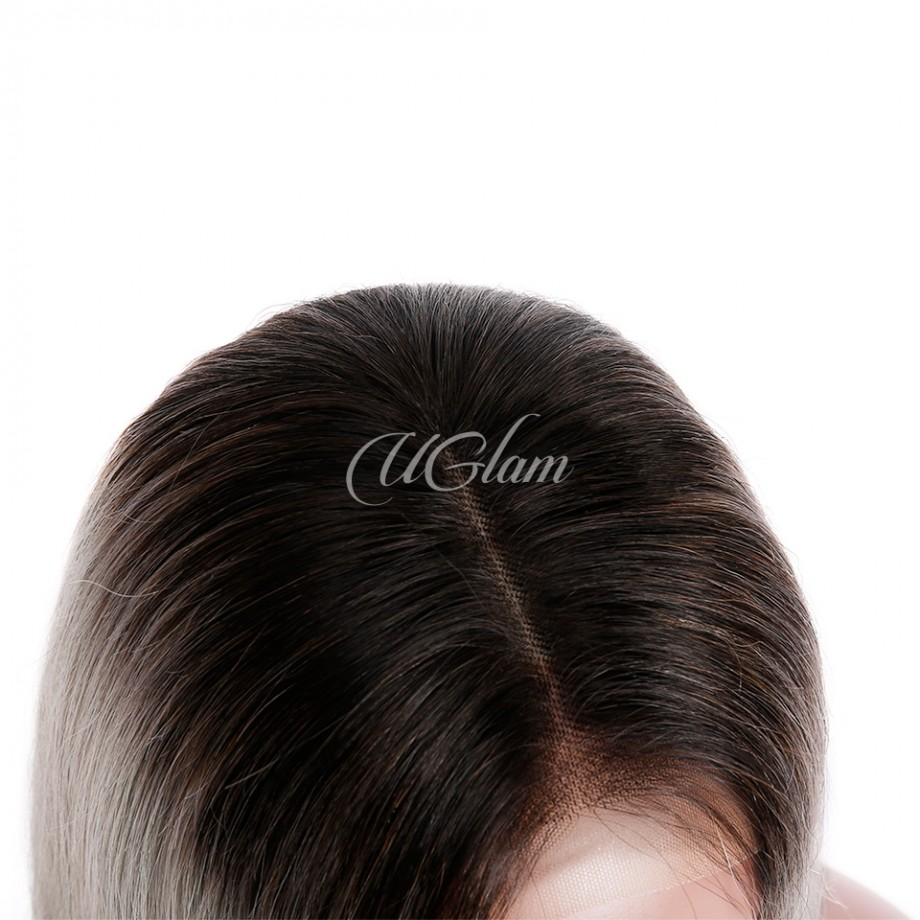 Uglam Hair Ombre Grey Bob Lace Front Wigs Black Root Silvery With Middle Part