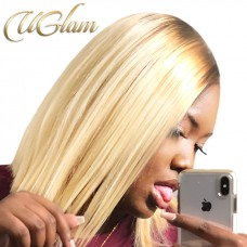 Uglam Hair Bob Lace Front Wigs Ombre Black Root #613 Honey Blonde Color With Middle Part