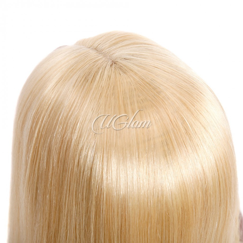Uglam Hair Bob Lace Front Wigs #613 Honey Blonde Color With Middle Part
