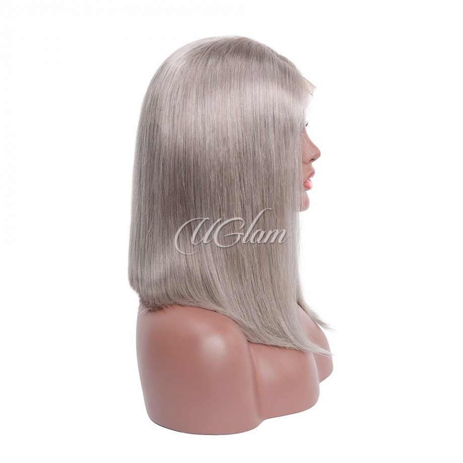 Uglam Hair Bob Lace Front Wigs Grey Color With Middle Part