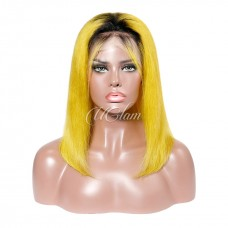 Uglam Hair Bob Lace Front Wigs 1b/yellow/blue/pink/99J Color Straight With Free Part