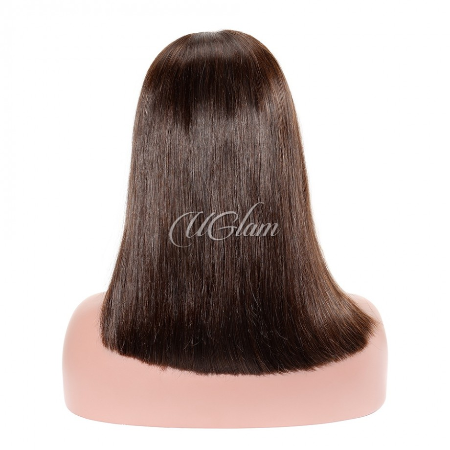 Uglam Hair Bob Lace Front Wigs #4 Color Straight With Middle Part