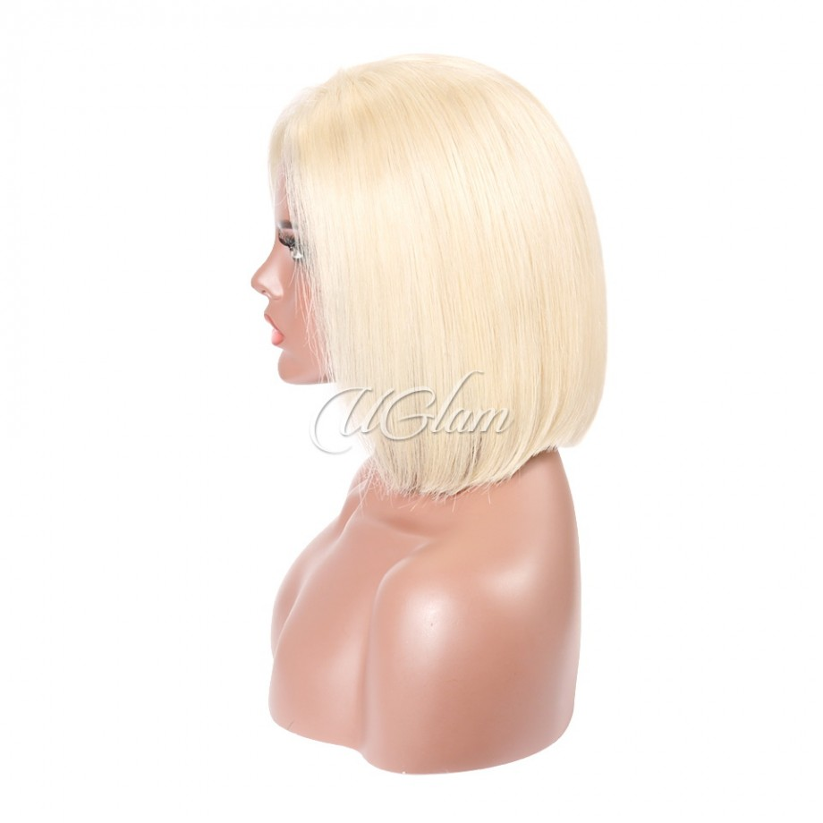Uglam Hair Bob Lace Front Wigs 613 Color With Middle Part
