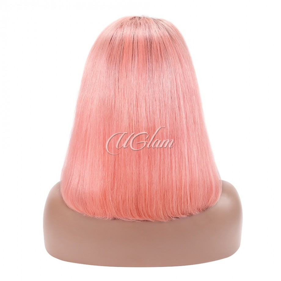 Uglam Hair Bob Lace Front Wigs Black Root Pink Color Straight With Free Part