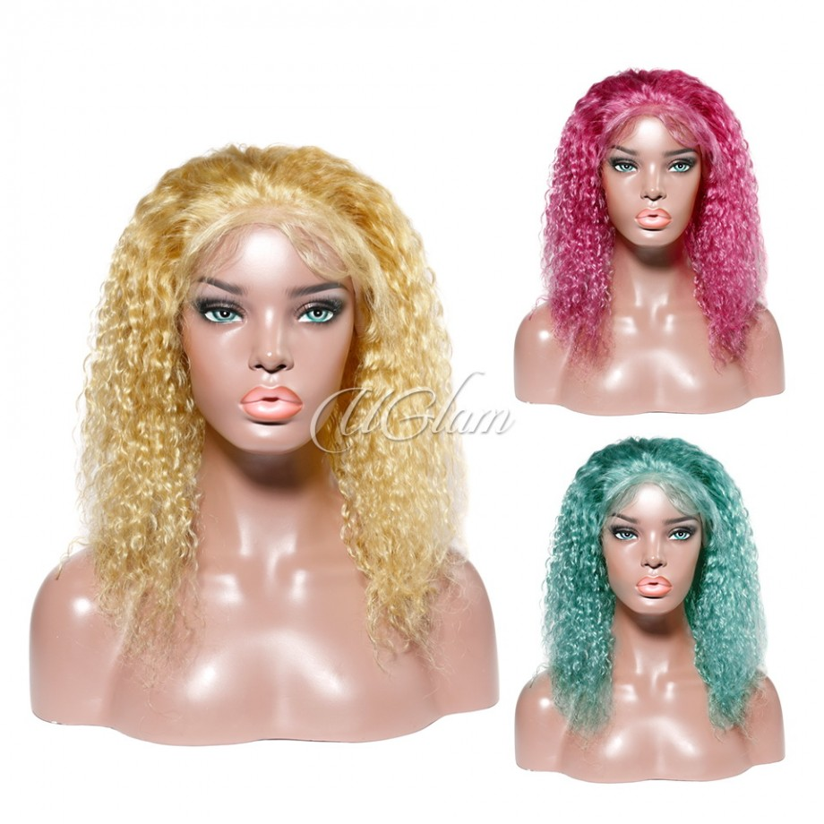 Uglam Hair Bob Lace Front Wigs Yellow/Deep Red/Green Color Deep Wave With Free Part